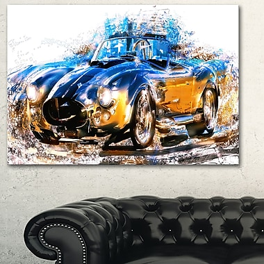 Roadster bleu et orange, art mural en métal, 28 x 12, (MT2603-28-12)