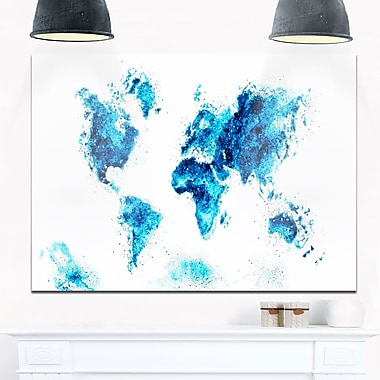 Blue Map Metal Wall Art, 28x12, (MT2708-3-28-12)