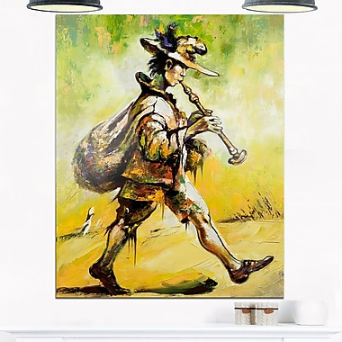 Wandering Troubadour with Pipe Music Metal Wall Art, 12x28, (MT6241-12-28)