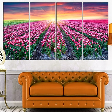 Blooming Tulips at Sunrise Photo Metal Wall Art, 48x28, 4 Panels, (MT7064-271)