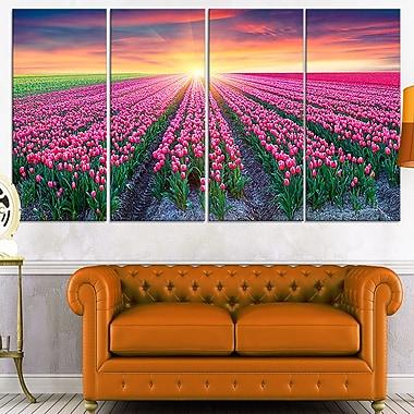Art mural en métal, tulipes en floraison au lever du soleil, 48 x 28, 4 panneaux (MT7064-271)