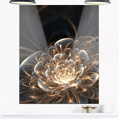 Fractal Flower with Golden Rays Floral Metal Wall Art, 12x28, (MT6755-12-28)