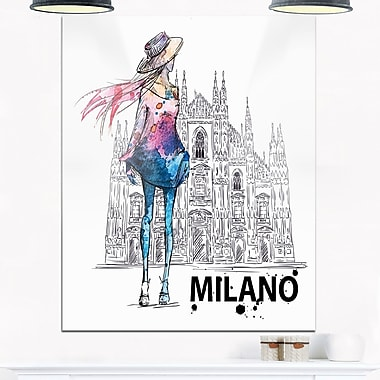 Girl on a Milano Duomo Contemporary Metal Wall Art, 12x28, (MT6643-12-28)