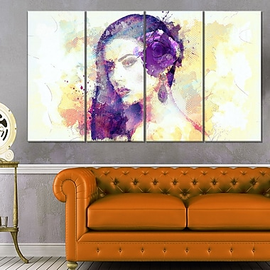 Dark Haired Beauty Sensual Metal Wall Art, 48x28, 4 Panels, (MT2903-271)