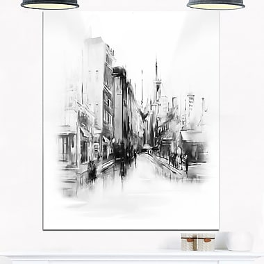 Black and White City Cityscape Metal Wall Art, 12x28, (MT6670-12-28)