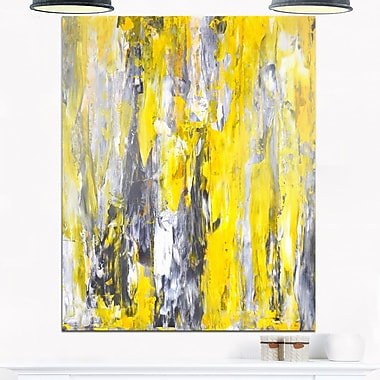 Grey and Yellow Abstract Pattern Abstract Metal Wall Art, 12x28, (MT6268-12-28)