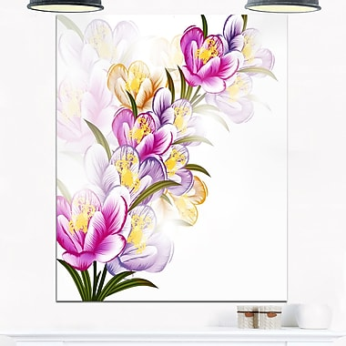 Vector Purple Flowers Floral Metal Wall Art, 12x28, (MT6124-12-28)