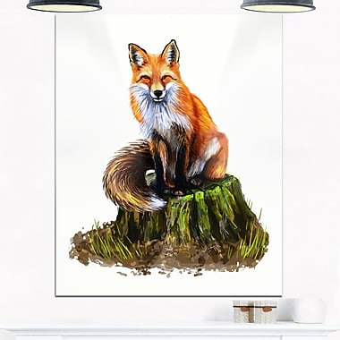 The Clever Fox Illustration Animal Metal Wall Art, 12x28, (MT6217-12-28)