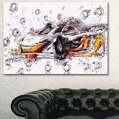 Art mural en métal, voiture exotique noire et orange 28 x 12 po (MT2628-28-12)