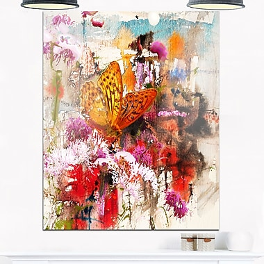 Butterfly Drinking Honey Floral Metal Wall Art, 12x28, (MT6008-12-28)