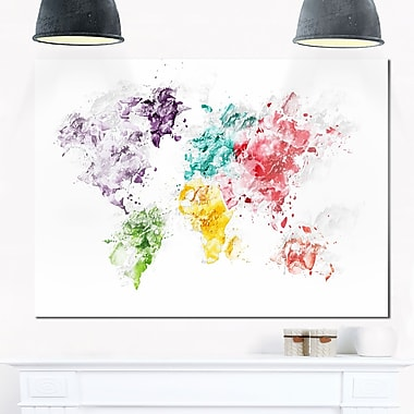 Colour Splash World Map Metal Wall Art, 28x12, (MT2739-28-12)