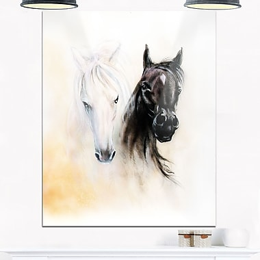 Black and White Horse Heads Animal Metal Wall Art, 12x28, (MT6280-12-28)
