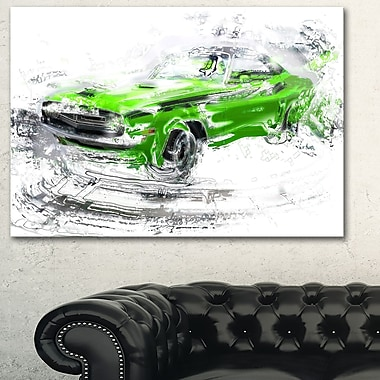 Green American Classic Car Metal Wall Art, 28x12, (MT2612-28-12)