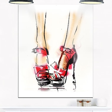 High Heel Fashion Shoes Digital Metal Wall Art, 12x28, (MT6686-12-28)