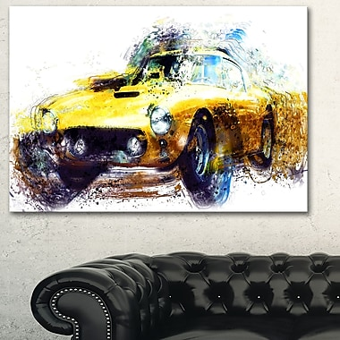 Yellow Classic Car Metal Wall Art, 28x12, (MT2656-28-12)