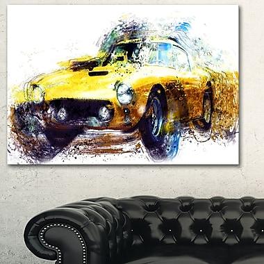 Art mural en métal, voiture classique jaune, 28 x 12 (MT2656-28-12)