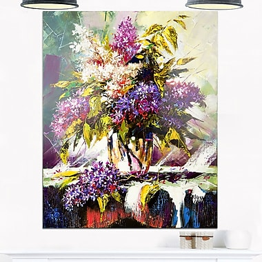 Lilac Bouquet in a Vase Floral Metal Wall Art, 12x28, (MT6318-12-28)