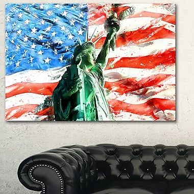 Lady Liberty on US Flag Metal Wall Art, 28x12, (MT2805-28-12)