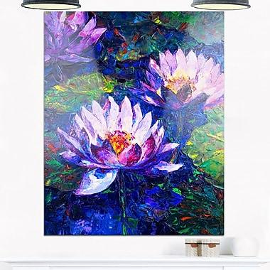 Peinture à l'huile d'un lotus bleu, art mural floral en métal, 12 x 28, (MT6292-12-28)