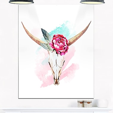 Bull Skull and Flower Floral Digital Metal Wall Art, 12x28, (MT6634-12-28)
