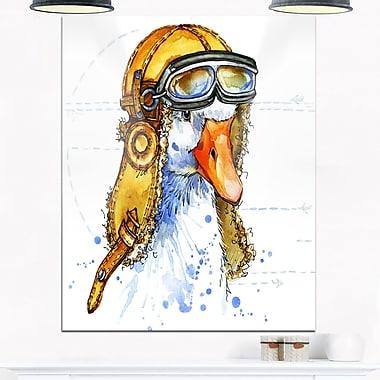 Art mural en métal, oie en drôle de chapeau d'aviateur, 12 x 28 (MT6063-12-28)
