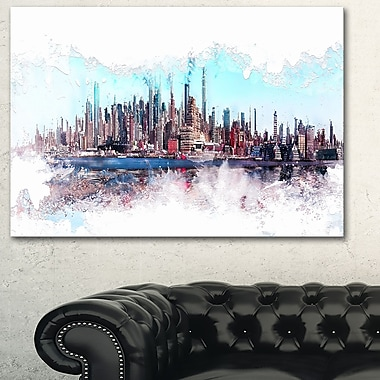 In the Bay Cityscape Large Metal Wall Art, 28x12, (MT3319-28-12)