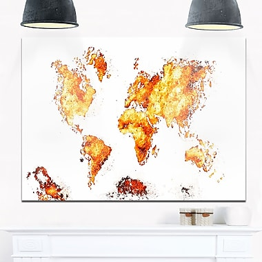 Orange Map Metal Wall Art, 28x12, (MT2708-4-28-12)