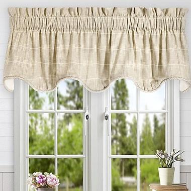 Ellis Curtain Morrison Plaid Cotton Scallop Lined Curtain Valance; Natural