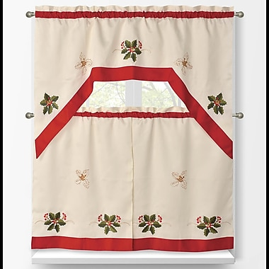 Window Elements 3 Piece Holiday Embroidered Sheer Kitchen Tier Set; Holly Berries