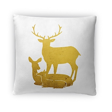 Kavka Deer Family Fleece Throw Pillow; 18'' H x 18'' W x 4'' D