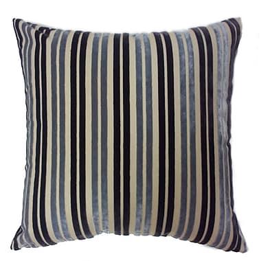 EuropaTex Stripe Throw Pillow; Indigo/Silver