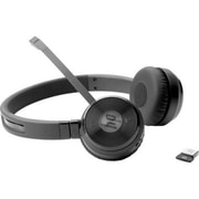 HP® UC Wireless Duo W3K09UT Over-the-Head Stereo Bluetooth Headset with Noise Cancelling Microphone, Black