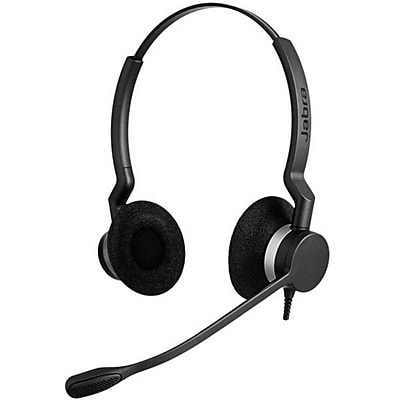 Jabra® BIZ 2300 QD Duo On-Ear Headset with Noise Canceling Microphone and Control, Black