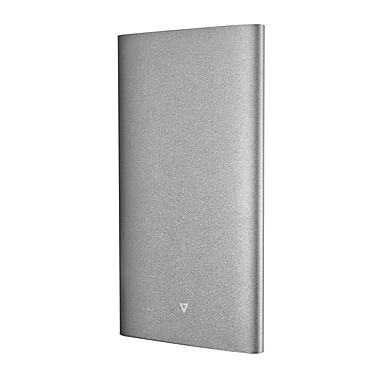 V7® Ultra-Slim Dual USB Power Bank, 10000 mAh, Dark Gray (PB10000P-4NS)