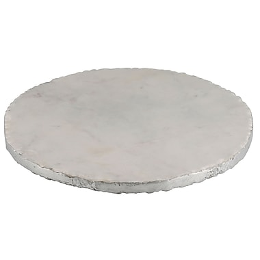 Thirstystone Old Hollywood Round Marble Serving Tray; Silver