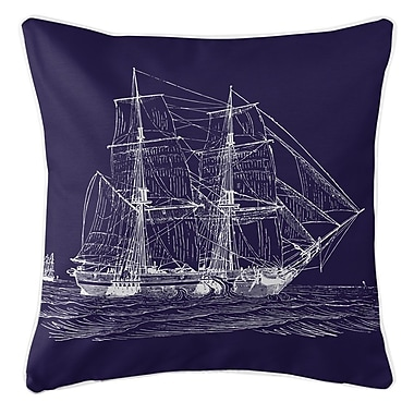 Island Girl Home Vintage Coastal Ship Throw Pillow; Navy