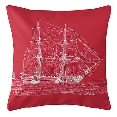 Island Girl Home Vintage Coastal Ship Throw Pillow; Red