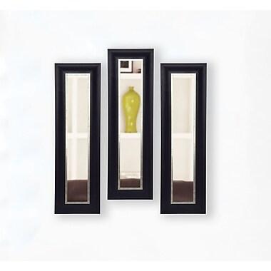 Rayne Mirrors Molly Dawn Grand Black and Aged Silver Mirror Panels (Set of 3)