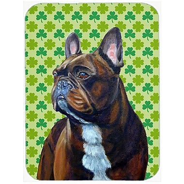 Shamrock Lucky Irish French Bulldog St. Patrick's Day Portrait Glass Cutting Board