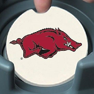CounterArt NCAA Car Coaster (Set of 2); Arkansas Razorbacks WYF078279303974