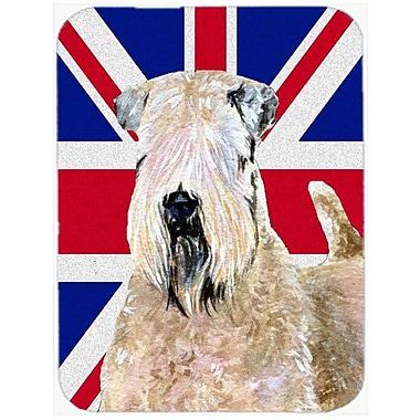 Union Jack Soft Coated Wheaten Terrier w/ English British Flag Glass Cutting Board