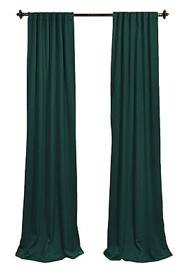 LA Linen Solid Sheer Rod Pocket 2 Piece Curtain Panels; Teal Dark