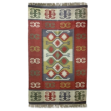 Novica Hand-Woven Red Area Rug