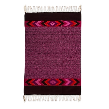 Novica Zapotec Hand-Woven Purple Area Rug