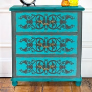 River of Goods Painted Peacock Blue 3 Drawer Cabinet