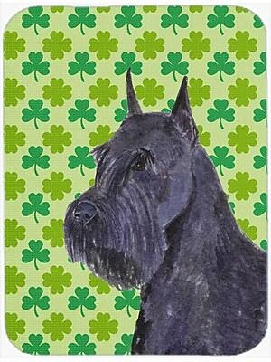 Shamrock Lucky Irish Schnauzer Giant St. Patrick's Day Portrait Glass Cutting Board