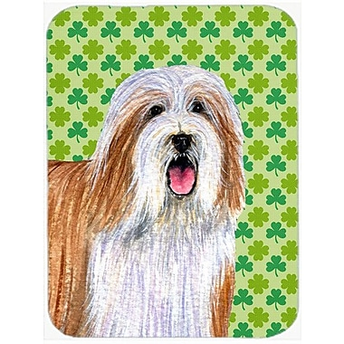 Shamrock Lucky Irish Bearded Collie St. Patrick's Day Portrait Glass Cutting Board