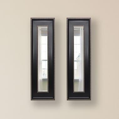 Rayne Mirrors Molly Dawn Black w/ Silver Caged Trim Mirror Panels (Set of 2)