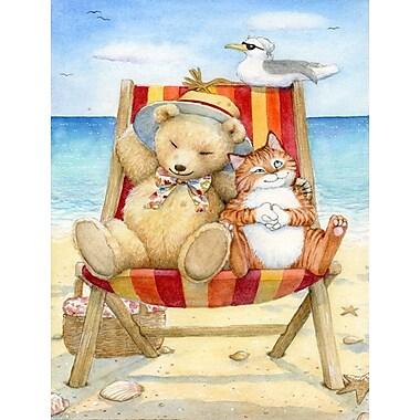 Caroline's Treasures Summer Teddy Bear and Cat on Beach 2-Sided Garden Flag; 15'' H x 11'' W