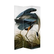 71'' x 38.75'' Tall Double Sided Audubon Heron and Flamingo Canvas 3 Panel Room Divider